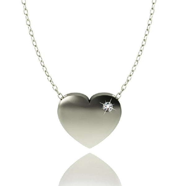 Love In A Jewel Heart Pendant - Silver with Diamond