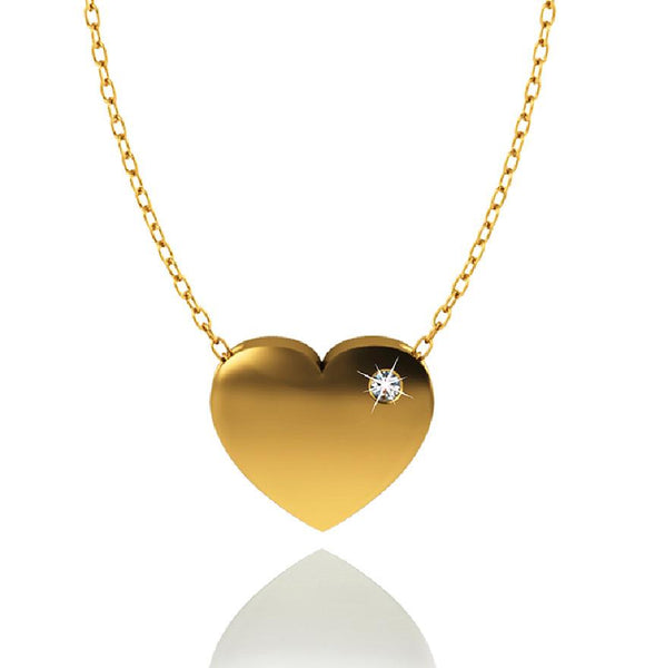 Love In A Jewel Heart Pendant - 9ct Yellow Gold with Diamond
