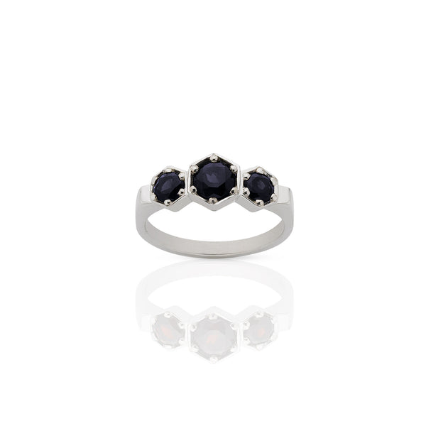 Meadowlark 3 Hexagon Stone Ring - Sterling Silver & Midnight Sapphire