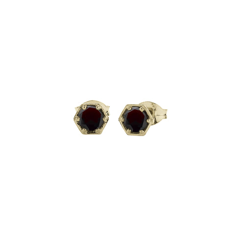 Meadowlark Hexagon Stone Studs - 9ct Yellow Gold & Thai Garnet