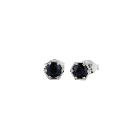 MEADOWLARK HEXAGON STONE STUDS - STERLING SILVER & MIDNIGHT SAPPHIRE