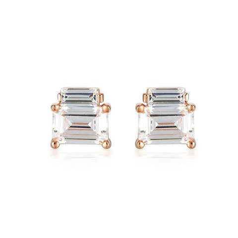 Georgini Emilio Rose Gold Double Baguette Earrings