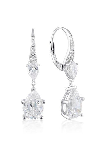 Georgini White CZ Rhodium Earrings