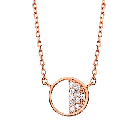 Wish Upon Rose Gold Silver Necklace with Cubic Zirconia