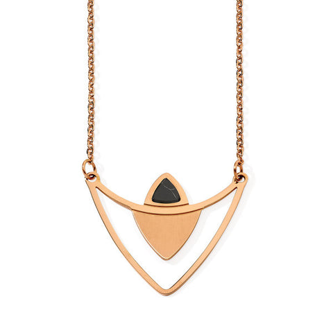 Lustrous Rose Gold Stainless Steel Necklace with Howlite