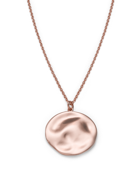 Rosefield - Iggy Textured Coin Necklace Rose Gold