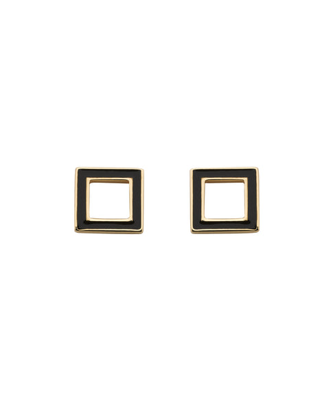 Karen Walker Ignition Studs - 9ct Rose Gold, Black Enamel
