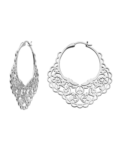 KAREN WALKER FILIGREE HOOPS SILVER