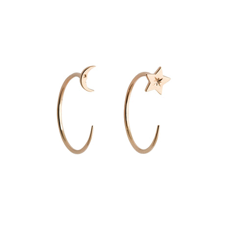 KAREN WALKER 9CT ROSE GOLD MOON & STAR HOOPS