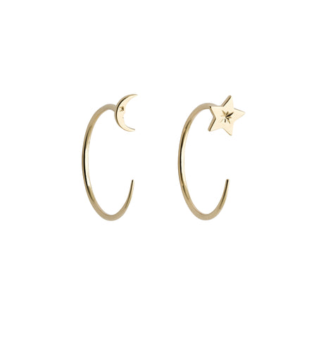 KAREN WALKER 9CT YELLOW GOLD MOON & STAR HOOPS