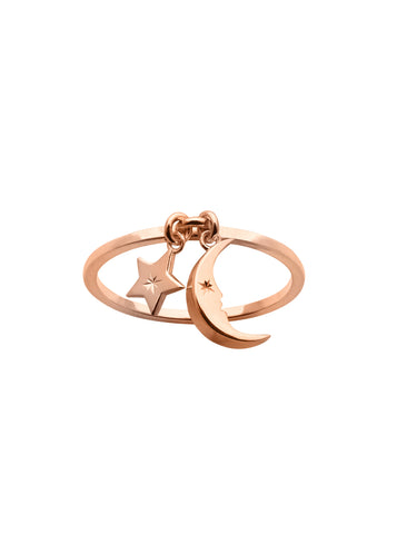 KAREN WALKER 9CT ROSE GOLD MOON & STAR CHARM RING