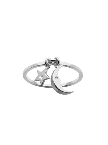 KAREN WALKER STERLING SILVER MOON & STAR CHARM RING