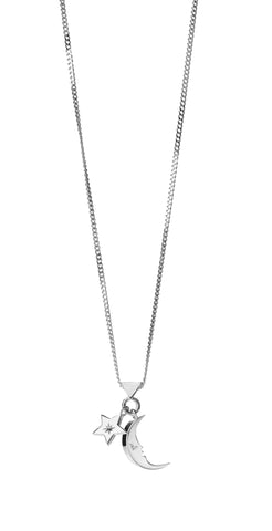 KAREN WALKER STIRLING SILVER MOON & STAR CHARM NECKLACE