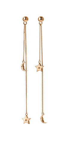 KAREN WALKER 9CT ROSE GOLD MOON & STAR PENDULUM EARRINGS