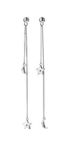 KAREN WALKER STERLING SILVER MOON & STAR PENDULUM EARRINGS