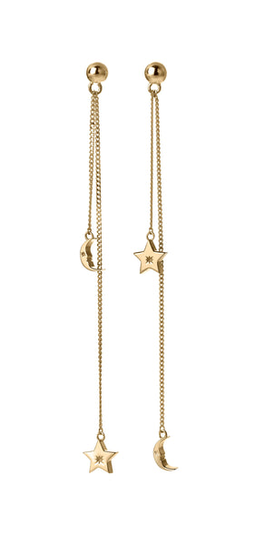 Karen Walker Moon & Star Pendulum Earrings - 9ct Gold