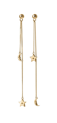 KAREN WALKER 9CT YELLOW GOLD MOON & STAR PENDULUM EARRINGS