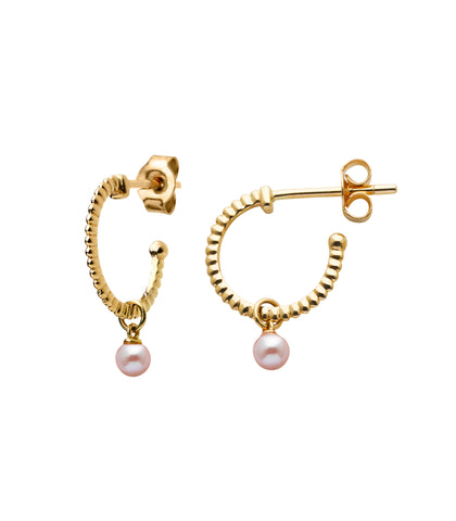 KAREN WALKER WISDOM PEARL HOOPS - 9CT YELLOW GOLD