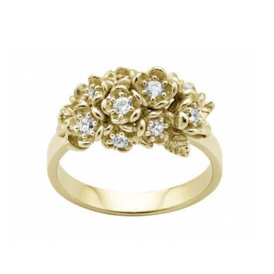 Karen Walker Diamond Wild Flower Posie Ring - 9ct Gold, Diamond