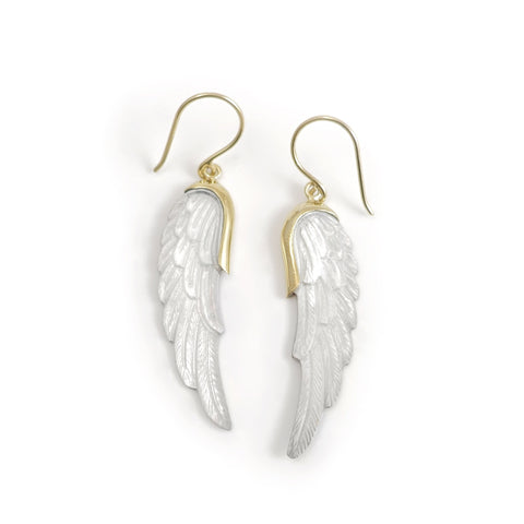 Nick Von K Gold Dipped Mother of Pearl Wing Earrings