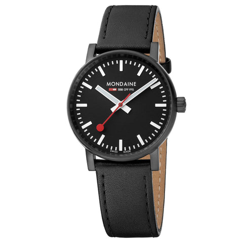 Mondaine evo2 (35mm) - Black Dial, Black Leather