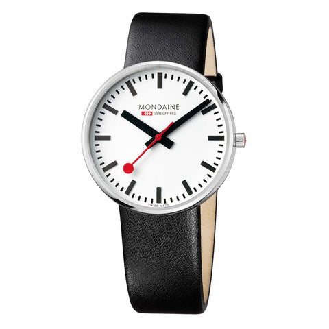 Mondaine Giant BackLight - White Dial, Silver & Black Strap