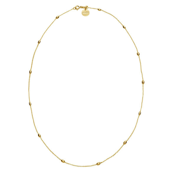 Najo - Like A Breeze Necklace - 1mm YG Plated Chain With Oval Beads 45cm
