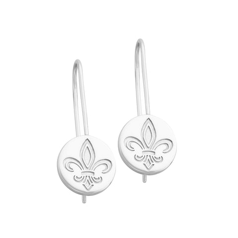 Napoleon Sterling Silver Fleur De Lis Earrings