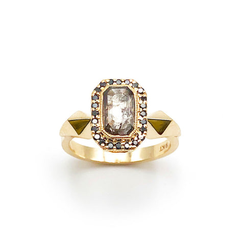 Nick Von K - Heritage Ring - Clear Peppery Diamonds - Black Diamonds - 9ct Yellow Gold