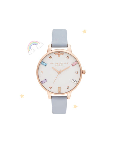 Olivia Burton Rainbow Bee Demi Chalk Blue & Rose Gold - OB16RB12