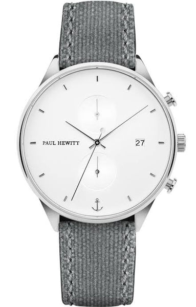 Paul Hewitt Chrono Watch - White, Sand, Silver, Canvas, Grey