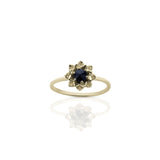 MEADOWLARK PROTEA STACKER RING - 9CT YELLOW GOLD & MIDNIGHT SAPPHIRE