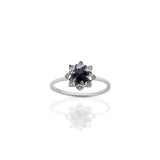 MEADOWLARK PROTEA STACKER RING - STERLING SILVER & MIDNIGHT SAPPHIRE