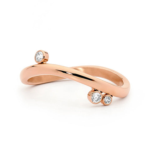 Clarity Rose Gold Stainless Steel Ring with Cubic Zirconia - Size P