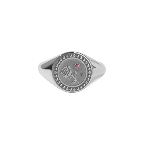 Meadowlark Amulet Love Signet Ring - Silver & Pink Sapphire