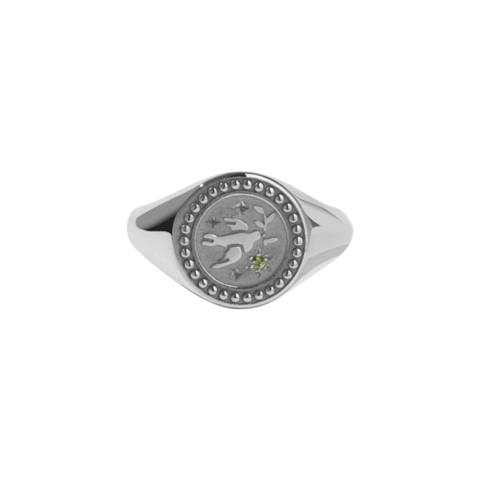 Meadowlark Amulet Peace Signet Ring - Silver & Green Sapphire