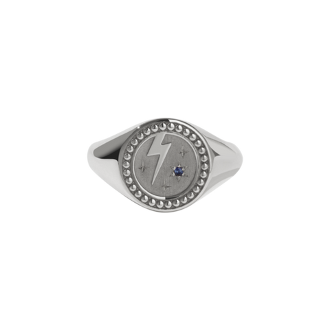 Meadowlark Amulet Strength Signet Ring - Silver & Blue Sapphire
