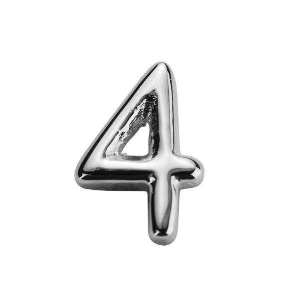 STOW Number 4 Charm - Sterling Silver