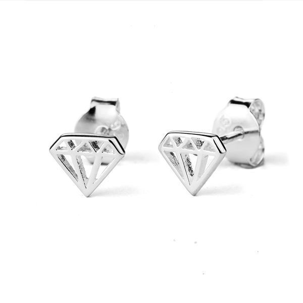STOW Silver Stud Earrings - Diamond (Exquisite)