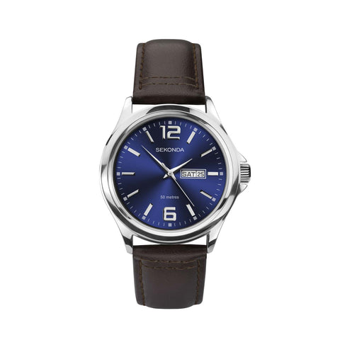 Sekonda Men's Classic Brown Leather Strap Watch
