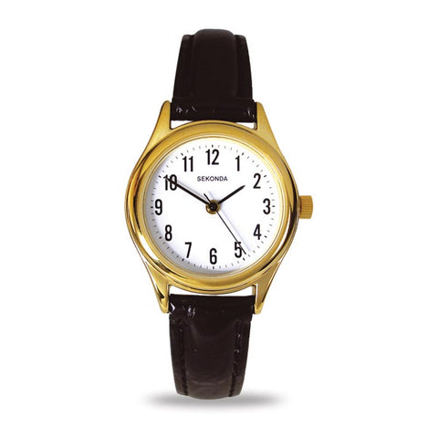 Sekonda Gold Colour Black Leather Strap