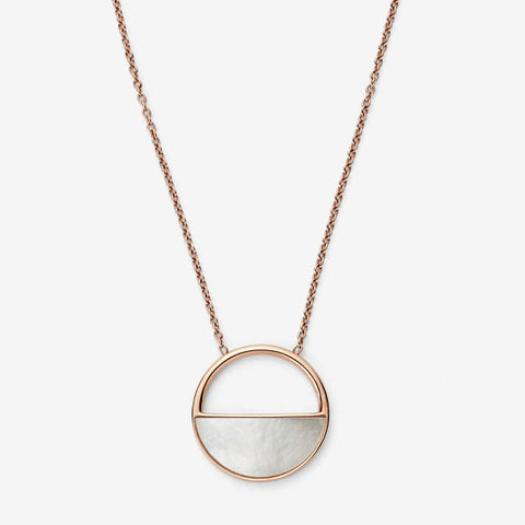 Skagen Elin Rose-Gold-Tone and Mother-of-Pearl Short Pendant Necklace