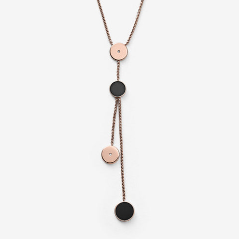 Skagen Ellen Rose Gold-Tone and Onyx Lariat Necklace