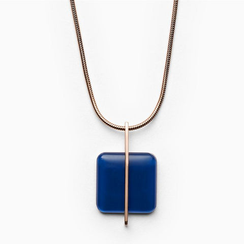 Skagen Jewellery Blue Sea Glass Rose-Gold-Tone Necklace