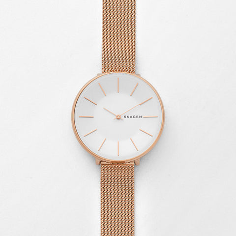 Skagen Karolina Rose Gold-Tone Steel-Mesh Watch - SKW2688