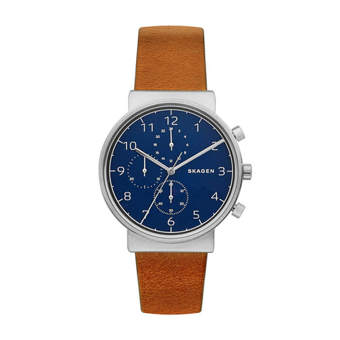 Skagen Ancher Leather Chronograph Watch SKW6358