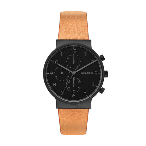 SKAGEN ANCHER LEATHER CHRONOGRAPH WATCH SKW6359