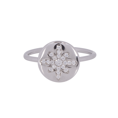 Boh Runga - Starburst Button Ring - Silver - Size Q