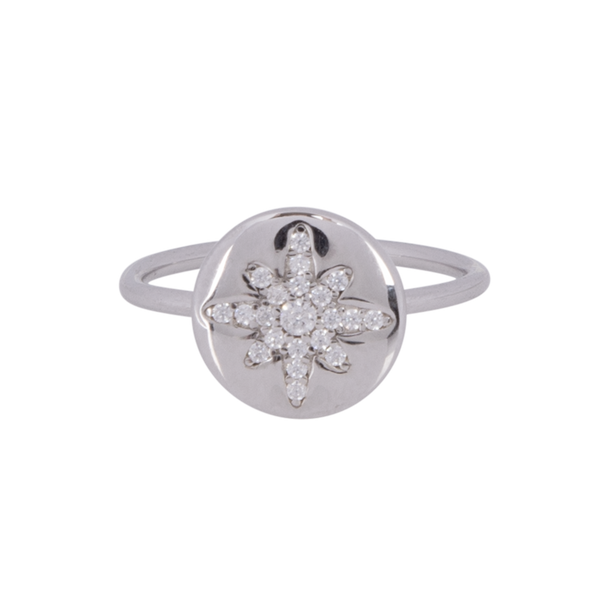 Boh Runga - Starburst Button Ring - Silver - Size O