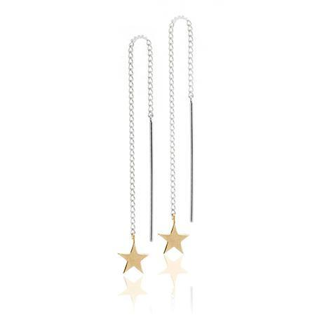 Boh Runga Stargazer Thread Earrings - 9ct Yellow Gold Star